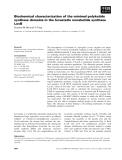 Báo cáo khoa học: Biochemical characterization of the minimal polyketide synthase domains in the lovastatin nonaketide synthase LovB
