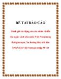 đề tài báo cáo Đánh giá tác động của các nhân tố đến thu ngân sách nhà nước Việt Nam trong thời gian qua. Xu hướng thay đổi thu NSNN khi Việt Nam gia nhập WTO