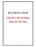 Bài Phân tích tiền đề ra đời của Đảng cộng sản Việt Nam