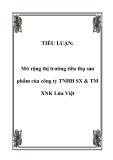 TIỂU LUẬN:  Mở rộng thị trường tiêu thụ sản phẩm của công ty TNHH SX & TM XNK Lửa Việt