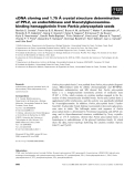 Báo cáo khoa học: ˚ cDNA cloning and 1.75 A crystal structure determination of PPL2, an endochitinase and N-acetylglucosaminebinding hemagglutinin from Parkia platycephala seeds