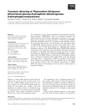 Báo cáo khoa học: Transient silencing of Plasmodium falciparum bifunctional glucose-6-phosphate dehydrogenase) 6-phosphogluconolactonase