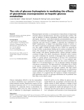 Báo cáo khoa học: The role of glucose 6-phosphate in mediating the effects of glucokinase overexpression on hepatic glucose metabolism