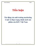 Bài tiểu luận tác động của môi trường marketing vi mô và thực trạng chính sách sản phẩm của KFC Việt Nam