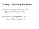 Chương 2: Đại cương về transistor