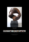 Circular abstract in walnut 40 cm high