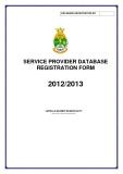 SERVICE PROVIDER DATABASE  REGISTRATION FORM 2012/2013