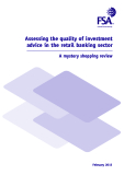 Assessing the quality of investment  advice in the retail banking sector
