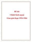 Chính sách ngoại giao trong giai đoạn 1954-1964