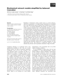 Báo cáo khoa học: Biochemical network models simplified by balanced truncation