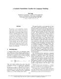 "Báo cáo khoa học: ""A Scalable Probabilistic Classifier for Language Modeling"""