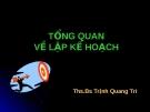 Bài giảng Tổng quan về lập kế hoạch - ThS. BS.Trịnh Quang Trí