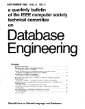 A quarterly bulletin  the IEEE computer society technical committee on Database engineering (VOL. 8)