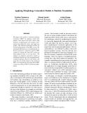"Báo cáo khoa học: ""Applying Morphology Generation Models to Machine Translation"""