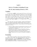 C++ Lab 6 Review of Variables, Formatting & Loops