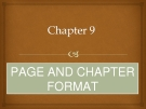 PAGE AND CHAPTER FORMAT