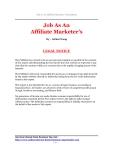 Job as an Affiliate marketer's