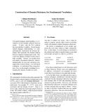 "Báo cáo khoa học: ""Construction of Domain Dictionary for Fundamental Vocabulary"""