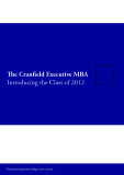 The Cranfield Executive MBA Introducing the Class of 2012