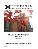 MBA, MAcc, & MSCM Programs  BULLETIN  2012-2013