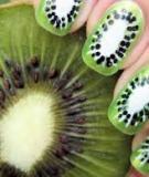 Tự vẽ móng tay kiwi xanh mát, dịu dàng