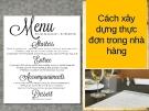 Cách xây dựng thực đơn trong nhà hàng