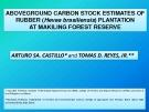 ABOVEGROUND CARBON STOCK ESTIMATES OF  RUBBER (Hevea brasiliensis) PLANTATION  AT MAKILING FOREST RESERVE