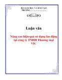 Luận văn: Nâng cao hiệu quả sử dụng lao động tại công ty TNHH Thương mại VIC