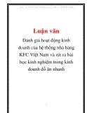 Đánh giá hoạt động kinh doanh của hệ thống nhà hàng KFC Việt Nam và rút ra bài học kinh nghiệm trong kinh doanh đồ ăn nhanh