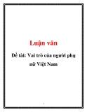 Đề tài: Vai trò của người phụ nữ Việt Nam