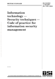 Information technology — Security techniques — Code of practice for information security management