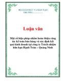 Luận văn: Một số biện pháp nhằm hoàn thiện công tác kế toán bán hàng và xác định kết quả kinh doanh tại công ty Trách nhiệm hữu hạn Hạnh Toàn – Quảng Ninh