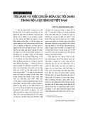 """Báo cáo """"Tội danh và việc chuẩn hoá các tội danh trong Bộ luật hình sự Việt Nam """""""