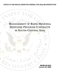 MANAGEMENT OF RAPID REGIONAL RESPONSE PROGRAM CONTRACTS IN SOUTH-CENTRAL IRAQ