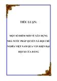 TIỂU LUẬN:  MỘT SỐ ĐIỂM MỚI VỀ XÂY DỰNG NHÀ NƯỚC PHÁP QUYỀN XÃ HỘI CHỦ NGHĨA VIỆT NAM QUA VĂN KIỆN ĐẠI HỘI XI CỦA ĐẢNG