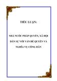 TIỂU LUẬN:  NHÀ NƯỚC PHÁP QUYỀN, XÃ HỘI DÂN SỰ VỚI VẤN ĐỀ QUYỀN VÀ NGHĨA VỤ CÔNG DÂN