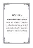 TIỂU LUẬN: MỘT SỐ VẤN ĐỀ CẦN QUAN TÂM TRONG VIỆC GIẢI QUYẾT MỐI QUAN HỆ GIỮA TĂNG TRƯỞNG KINH TẾ VÀ PHÁT TRIỂN VĂN HÓA, THỰC HIỆN TIẾN BỘ VÀ CÔNG BẰNG XÃ HỘI