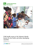 Child health nurses in the Solomon Islands: lessons for the Pacific and other developing countries