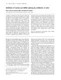Báo cáo Y học:  Inhibition of nuclear pre-mRNA splicing by antibiotics in vitro