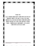 Luận văn LỰA CHỌN MỘT DÂY CHUYỀN SẢN XUẤT TRONG THỰC TẾ ,DỰA VÀO CÁC ĐẶC ĐIỂM CỦA SẢN XUẤT DÂY CHUYỀN, HÃY PHẦN TÍCH CÁC YẾU TỐT (BƯỚC CÔNG VIỆC , THỜI GIAN CHẾ BIẾN , CỦA DÂY CHUYỀN SẢN XUẤT ĐÓ