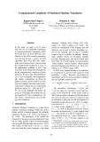 "Báo cáo khoa học: ""Computational Complexity of Statistical Machine Translation"""