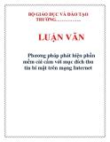 LUẬN VĂN: Phương pháp phát hiện phần mềm cài cắm với mục đích thu tin bí mật trên mạng Internet