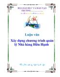 Luận văn: Xây dựng chương trình quản lý Nhà hàng Hữu Hạnh