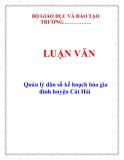 LUẬN VĂN: Quản lý dân số kế hoạch hóa gia đình huyện Cát Hải