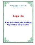 Luận văn: Khai phá dữ liệu văn bản tiếng Việt với bản đồ tự tổ chức