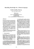 "Báo cáo khoa học: ""Modelling Knowledge for a Natural Language Understanding System"""