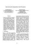 "Báo cáo khoa học: ""Restriction and Correspondence-based Translation"""