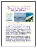 Ngành Du Lịch có vai trò đặc biệt quan trọng đối với sự phát triển của Việt Nam