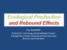 ECOLOGICAL PRODUCTION AND REBOUND EFFECTS