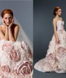 Ấn tượng cùng váy cưới hoa hồng